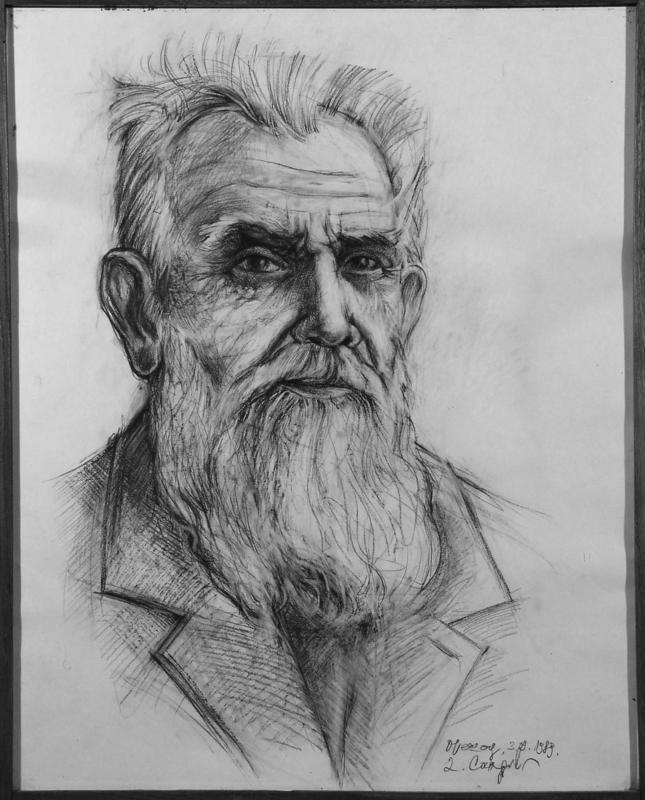 Драгољуб Сандић, портрет Алексе Аце Станојевића, цртеж оловком на папиру