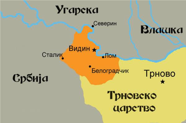 Карта Видинског царства, 14. век