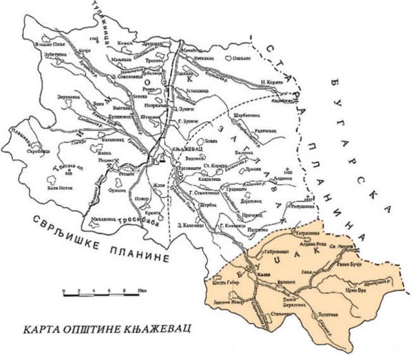 Карта општине Књажевац - Буџак