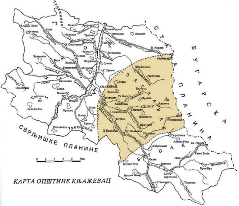 Карта општине Књажевац - Заглавак