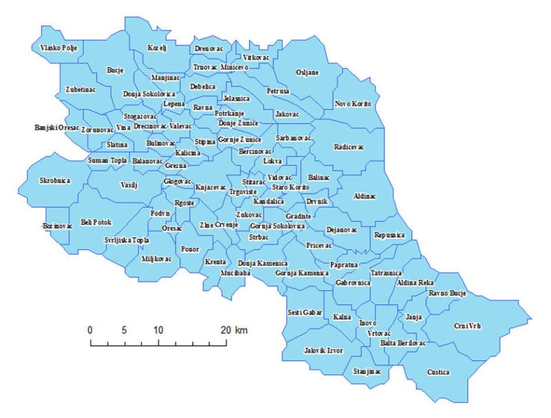 Карта општине Књажевац са сеоским атарима