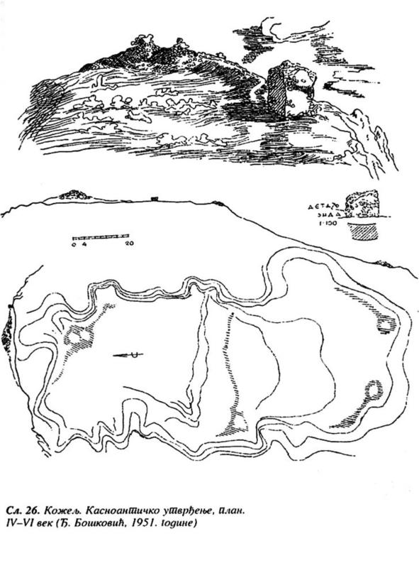 Касноантичко утврђење, IV-VI век, цртеж Ђ. Бошковића, 1951